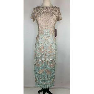 JS Collections Lace Soutache Sheath Applique Dress